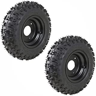 JCMOTO 2 Pack of 4.10-6 Go Kart ATV Tubeless Tire with Rim | Rear Tires Rims for Scooter Quad Bikes 4 Wheelers