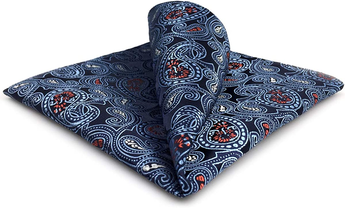 SHLAX&WING Mens Pocket Square Blue Paisley Hanky for Men Large 12.6 inches