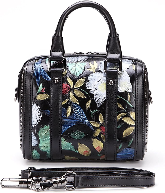 HHaojie Vintage woman's Genuine Leather handbag Threedimensional Pattern Casual shoulder bag