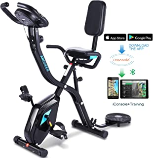 ANCHEER Indoor Exercise Slim Folding Bike,3 in1 Stationary Cycle Recumbent Bike,Compact Magnetic Upright for Home with App Program&Twister Plate&10 Level Adjustable Resistance&Monitor