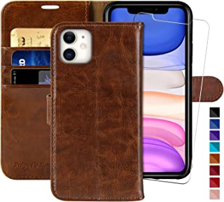MONASAY Wallet Case for iPhone 12 Mini 5G 5.4-inch,[Glass Screen Protector Included] [RFID Blocking] Flip Folio Leather Cell Phone Cover with Credit Card Holder Compatible with iPhone 12 Mini 5G