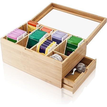Amazy Boîte à thé décorative en bambou avec 8 compartiments et tiroir - Pour le rangement des sachets de thé et autres accessoires