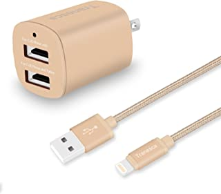 Tranesca Compatible Dual USB Wall Charger with 6ft MFI Lighting Charging Cable for iPhone X,iPhone 8/8 Plus/iPhone 7/7 Plus/iPhone 6/iPad/iPad Pro and More (Gold)