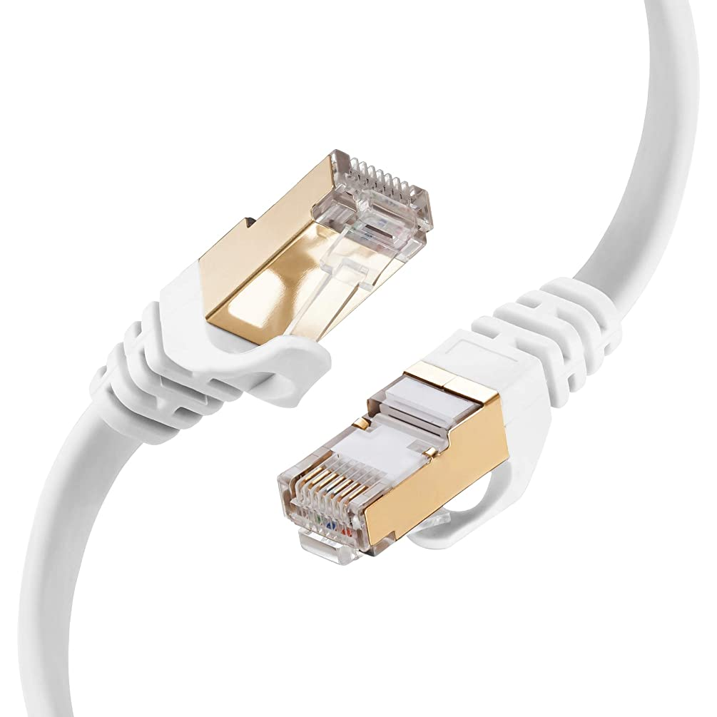 Cat 7 Ethernet Cable 10 ft White, SNANSHI Cat7 Flat Ethernet Patch Cables - Internet Cable Shielded RJ45 Connectors Compatible with Switch/Router/Modem/Patch Panel