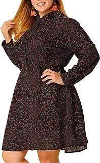 Agnes Orinda Women's Plus Size Dress Floral Polka Dots Long Sleeves Shirt Dresses