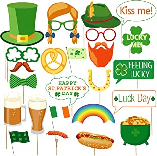St. Patrick's Day Photo Booth Props - Irish Day Party Decoration for St. Patty's Day Green Festival Birthday, Shamrock Leprechaun Kids Adult Disguise Selfie Dress-up Props Party Favor Gift 26Pcs