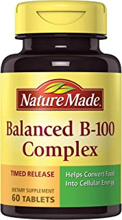 Nature Made Balanced B-100 Timed Release (Thiamin, Riboflavin, Niacin, B6, B12, Biotin, Pantothenic Acid & Folic Acid) Tablets 60 Ct