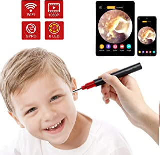 Ear Endoscope, 1080P Wireless Ear Wax Removal, Super Light Lens Earwax Cleaning Tool with 6 LED Lights, WiFi Ear Otoscope Camera with 3-Axis Gyroscope, Compatible with Smartphone & Tablet (Black red)