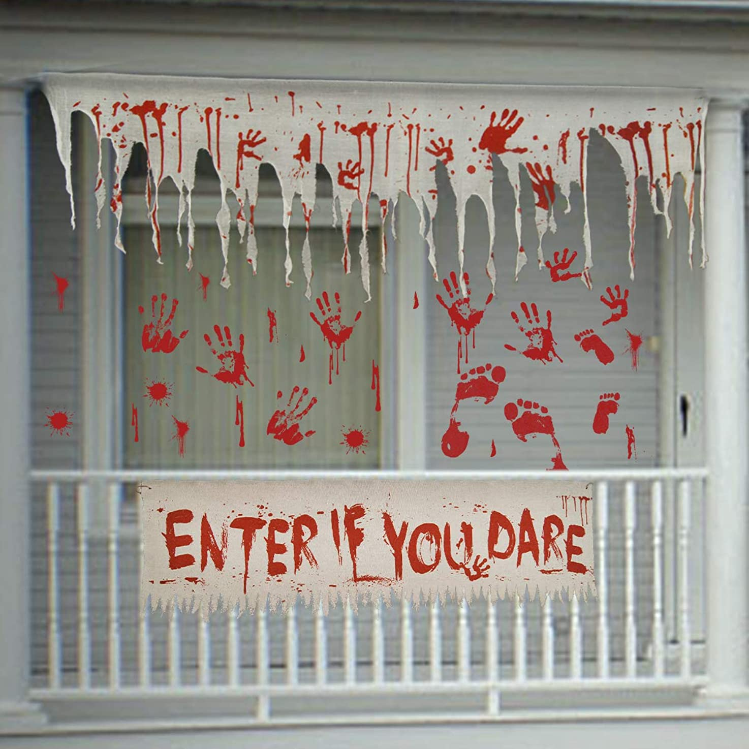 Pawliss Halloween Haunted House Props Decorations, Bloody Gauze Banners Wall Stickers Window Decals,Creepy Carnival Zombie Party Supplies,Scary Halloween Decor