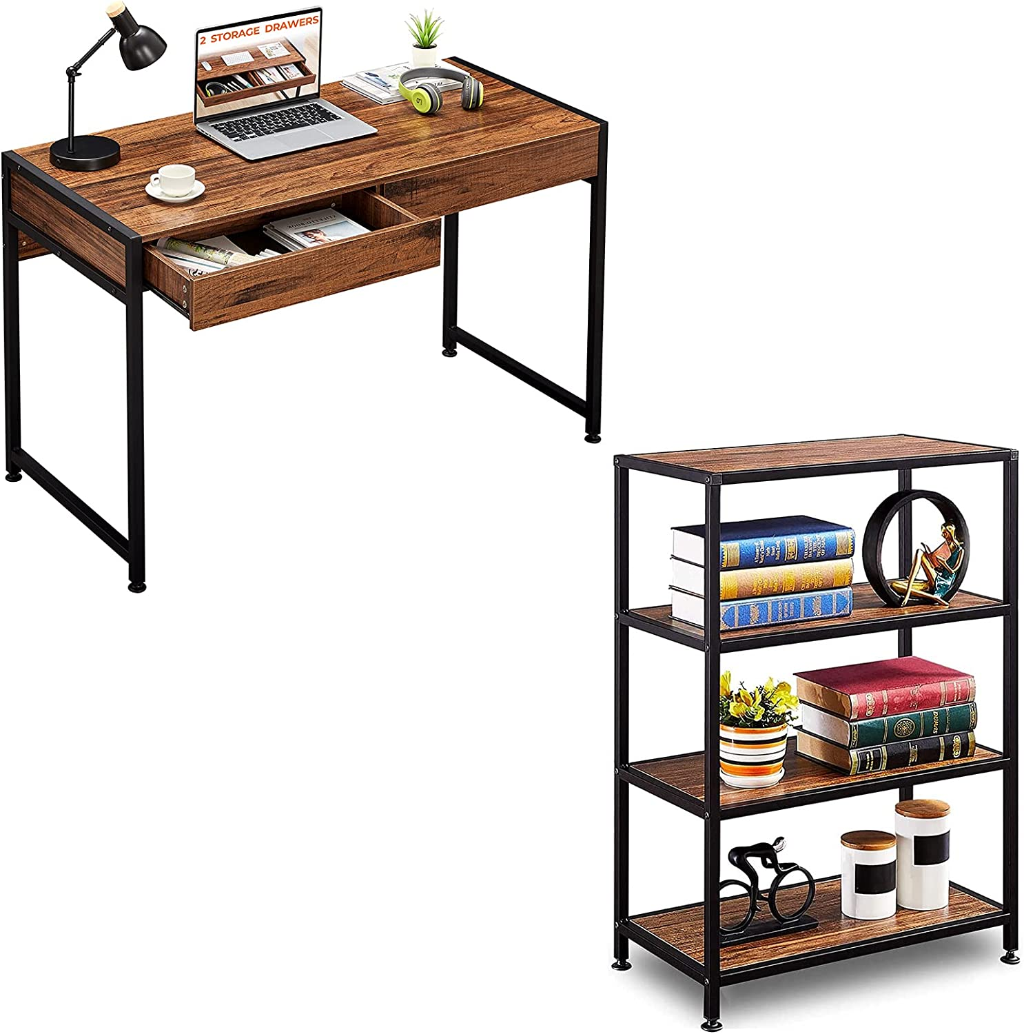 GreenForest Writing Desk depot with 2 Storage Drawers Industrial Bookc Daily bargain sale