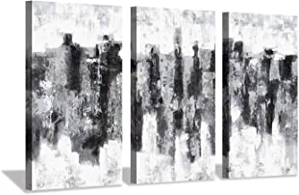 Hardy Gallery Abstract Skyline Canvas Art Print: Gray Cityscape Painting Wall Art for Decor