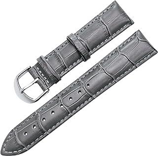 【TON CHARME】トンチャーメー腕時計用ベルト 本革 カーフレザー 時計バンド グレー・ブラック・ブラウン・ブラウン白線 ・ブラック白線・ライトブラウン・ダークブラウン (20mm, ダークグレー)