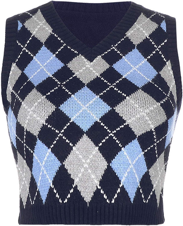Sweater Vest Women Plaid Knitted Streetwear Preppy Style V Neck Crop Knitwear Tank Top for Girl (Blue 1,Large)