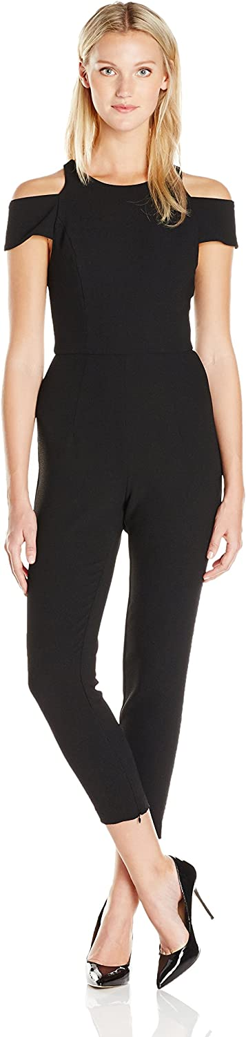 A B S BY ALLEN SCHWARTZ Womens Woven Jumpsuit with Cut Out Shoulders in Crepe Woven Dress