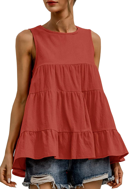 Theenkoln Women's Tank Tops Sleeveless Casual Babydoll Crew Neck Tunics Ruffle Loose Fitting Shirt Blouse