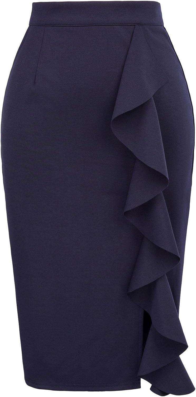 GRACE KARIN Women's Ruffle Bodycon Knee Length Midi Pencil Skirt