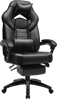 SONGMICS spelstol, kontorsstol med fotstöd, skrivbordsstol, ergonomisk design, justerbart nackstöd, ländryggsstöd, lastbar...