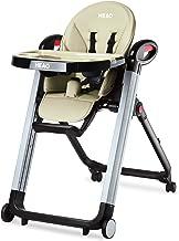 HEAO Foldable High Chair Reclining Height Adjustable 4 Wheels Beige