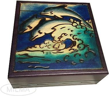 Joyful Dolphins Handmade Wooden Box Polish Jewelry Box Linden Wood Blue Ocean & Dolphins Keepsake