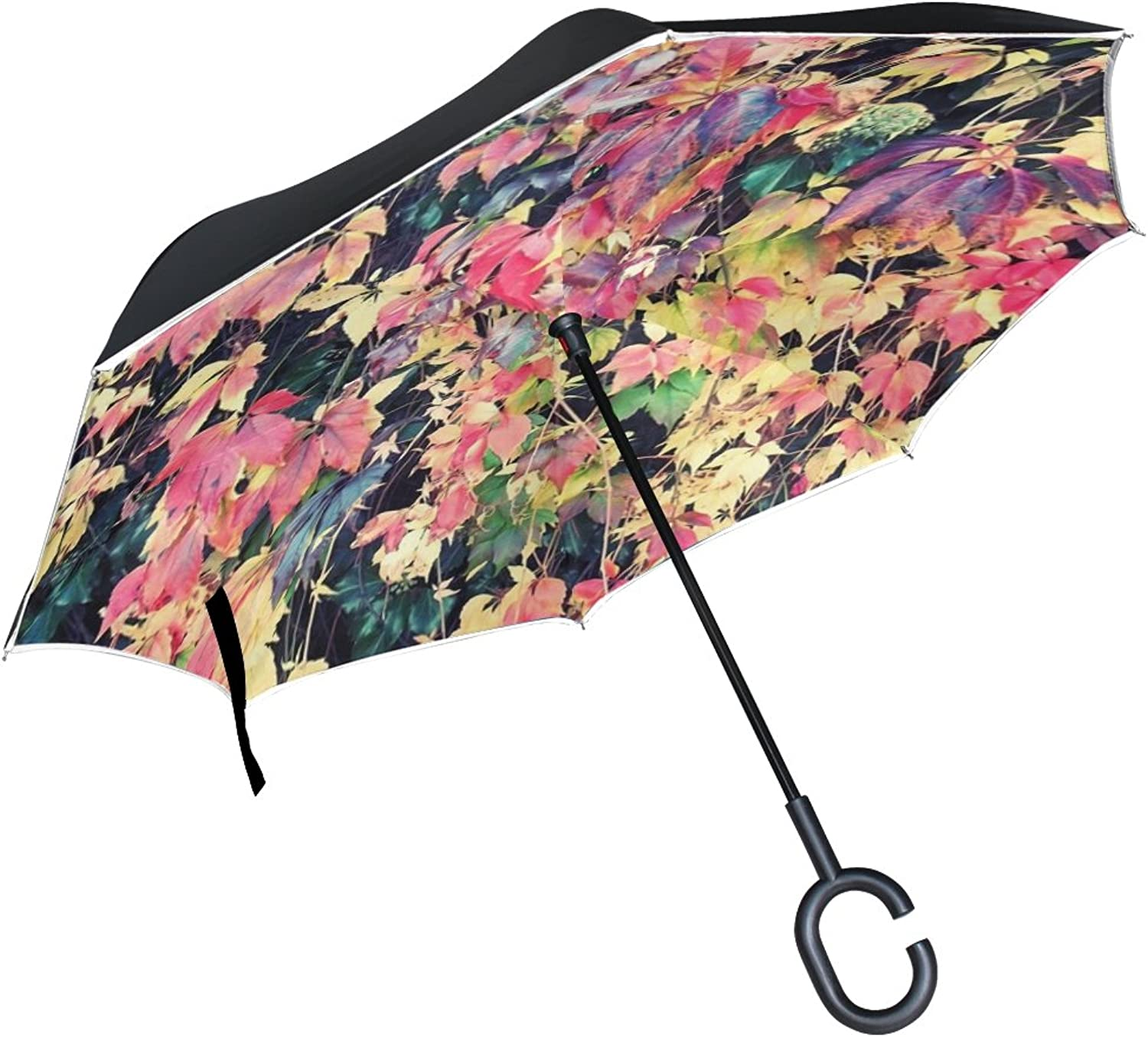 Double Layer Ingreened Autumn Leaves colorful color Fall Foliage Umbrellas Reverse Folding Umbrella Windproof Uv Predection Big Straight Umbrella for Car Rain Outdoor with CShaped Handle
