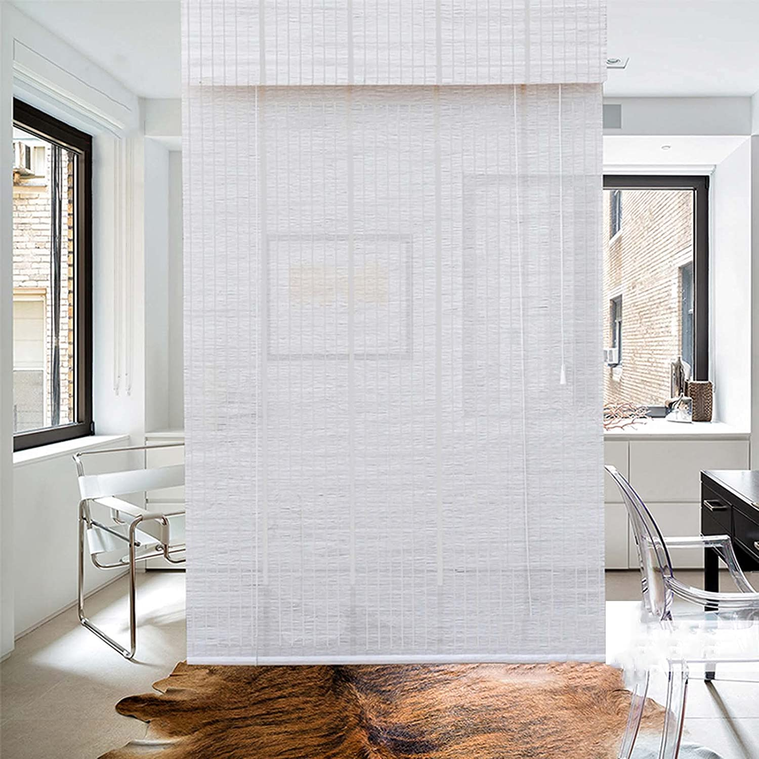 AYHMT White Luxury goods Max 82% OFF Natural Bamboo Blinds Filtering Light Roman B