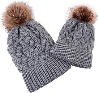 Rehomy 2 gorros de invierno para padres e hijos, gorro de punto cálido para la familia de ganchillo, gorro de esquí