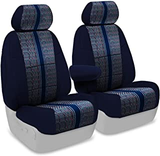 Coverking Custom Fit Front 50/50 Bucket Seat Cover for Select Mercedes-Benz 380SL Models - Saddleblanket (Dark Blue with Neosupreme Navy Blue Sides)
