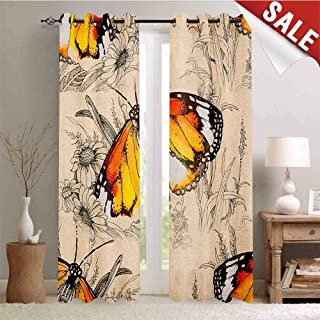 Hengshu Butterfly Customized Curtains Sign of Supreme Grace and Meditative Journey Real Self Creature Theme Window Curtain Drape W72 x L96 Inch Orange Black Cream
