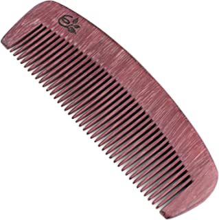 Evolatree Purpleheart Wooden Comb for Hair - Handmade Natural Wood Combs with Anti-static & No Snag - All-Purpose Pocket Comb, Fine Tooth, 5