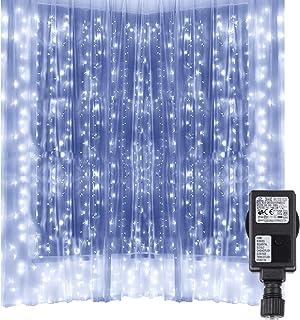 Speclux - Cortina de 300 luces LED para interiores y exteriores, 3 x 3 m, 8 modos, luz blanca fría, para bodas, día de San...
