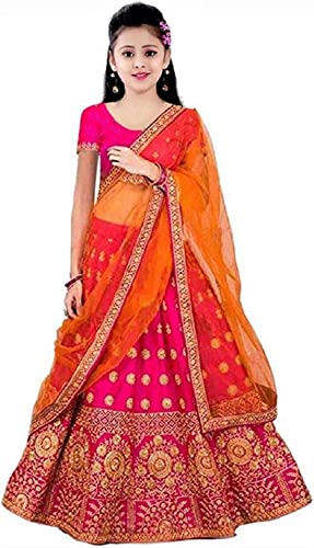 Girl s Satin Heavy Embroidered Semi stitched Lehenga Choli Pink and Orange 9 14 Years