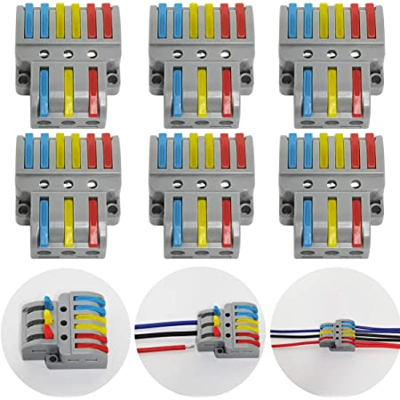 CTRICALVER Lever-Nut Surtidas Conector Paquete de 6, Bloque de Terminales de Barra de Presión Bilateral, 3 en 6 fuera Conductor Compacto Cable Conector,Con tornillos de montaje
