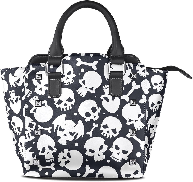 My Little Nest Women's Top Handle Satchel Handbag White Skulls Ladies PU Leather Shoulder Bag Crossbody Bag