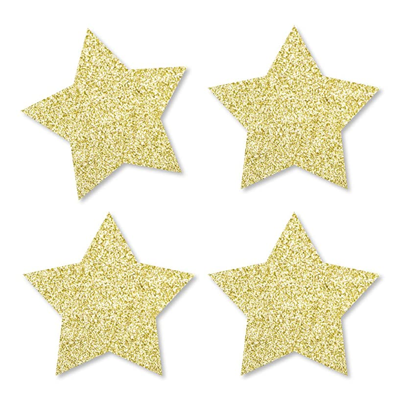 Gold Glitter Star - No-Mess Real Gold Glitter Cut-Outs - Party Confetti - Set of 24