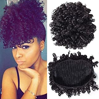 BuLaDou High Afro Puff Drawstring Ponytail Short Kinky Curly Human Hair Bun Clip in on Wrap Updo Hairpieces for African Am...