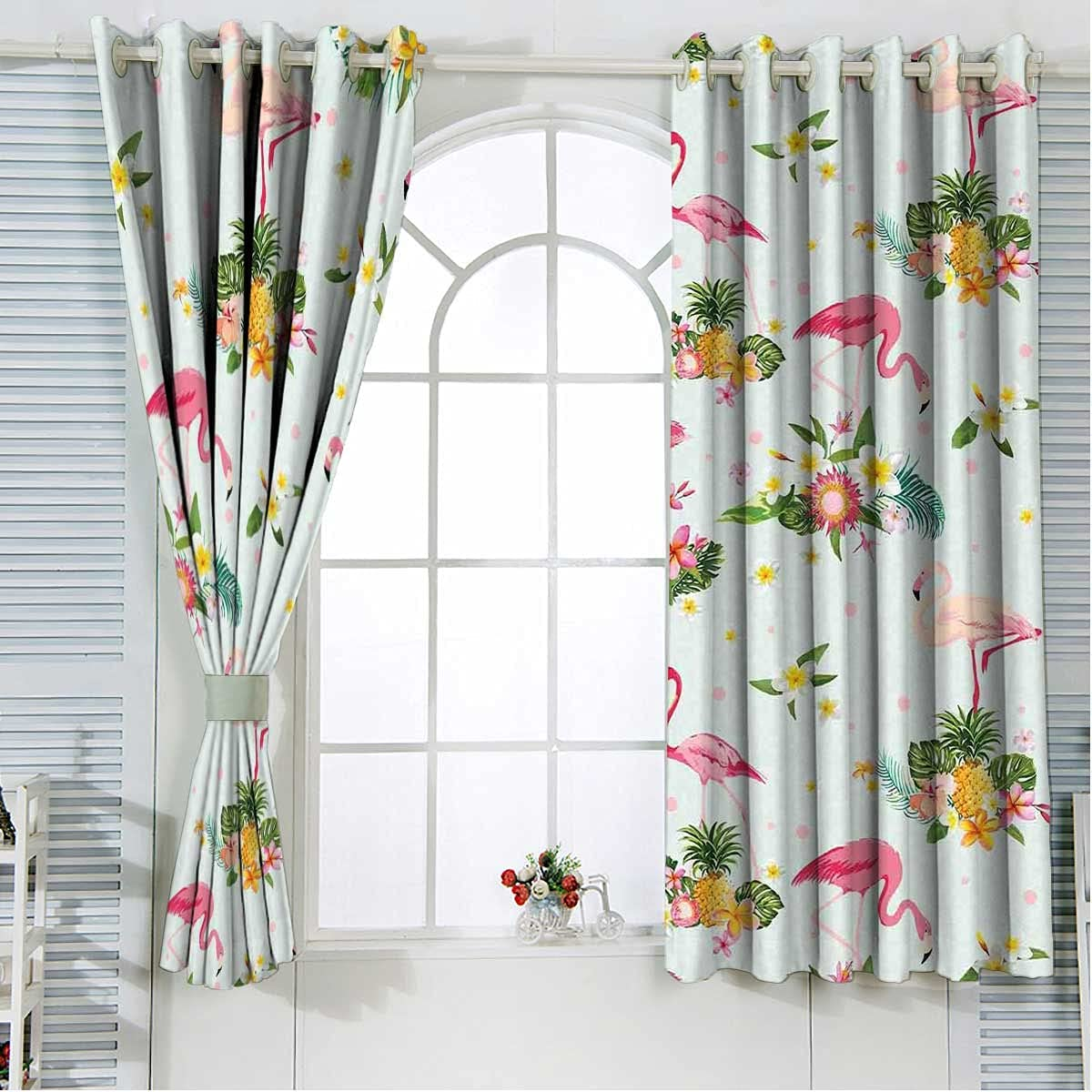 Flamingo Bedroom Blackout Curtains 63 Yellow Milwaukee Mall Inches Gree Free shipping anywhere in the nation Length