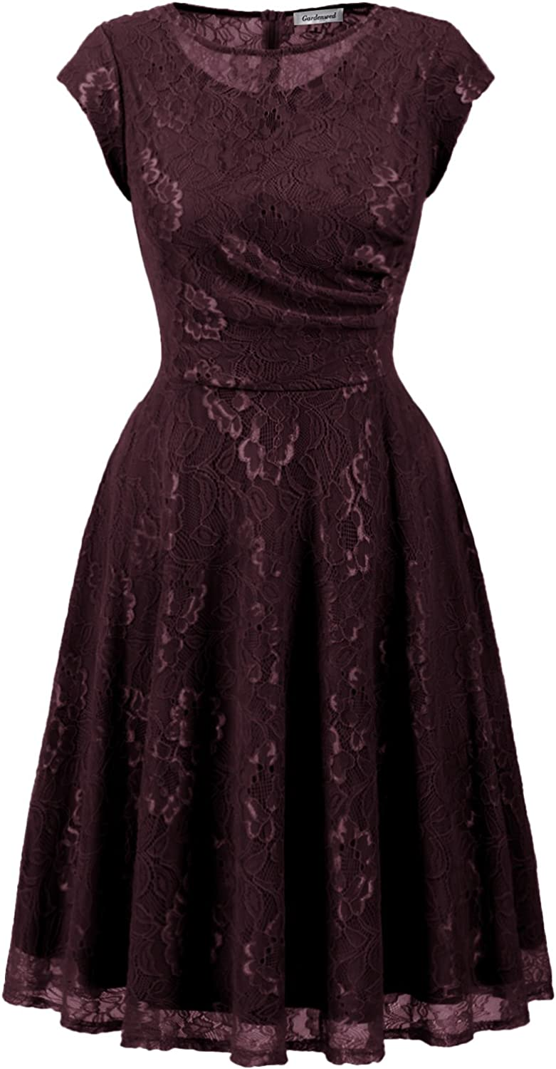 Gardenwed Women's Floral Lace Short Bridesmaid Ruched Vintage Cocktail Party Dress