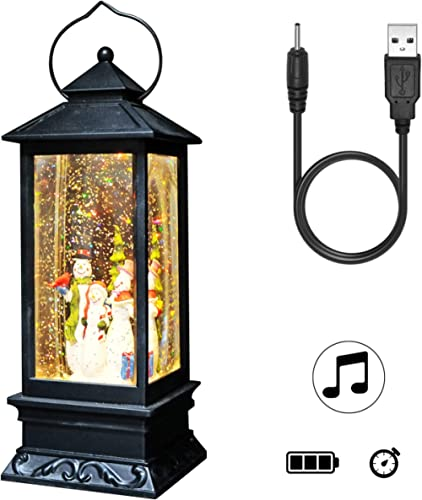 DRomance Lighted Water Lantern Glittering with Music Battery Operated and USB Powered Singing Snow Globe for Kids, Sn...