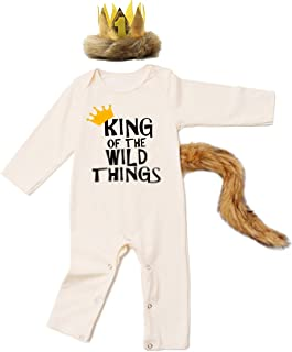 Halloween Baby Outfit Set Lion Costume King of The Wild Thing Romper with Crown and Tail