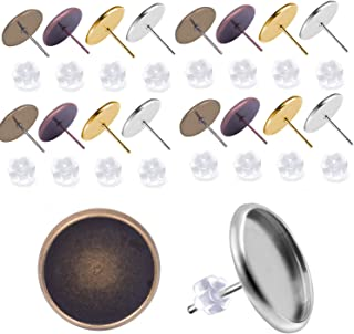 Jdesun 40 Pieces Cabochon Earring Settings with 40 Pices Rubber Backs, Stainless Steel Stud Earring Cabochon Setting Post Cup Fit for 10mm (4 Colors)