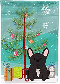 Caroline's Treasures BB4134GF Merry Christmas Tree French Bulldog Brindle Garden Size Flag, Small, Multicolor