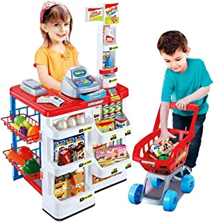 ARHA IINTERNATIONAL Kids Role Pretend Playset Big Size Supermarket kit for Kids Toys with Shopping Cart and Sound Effects...