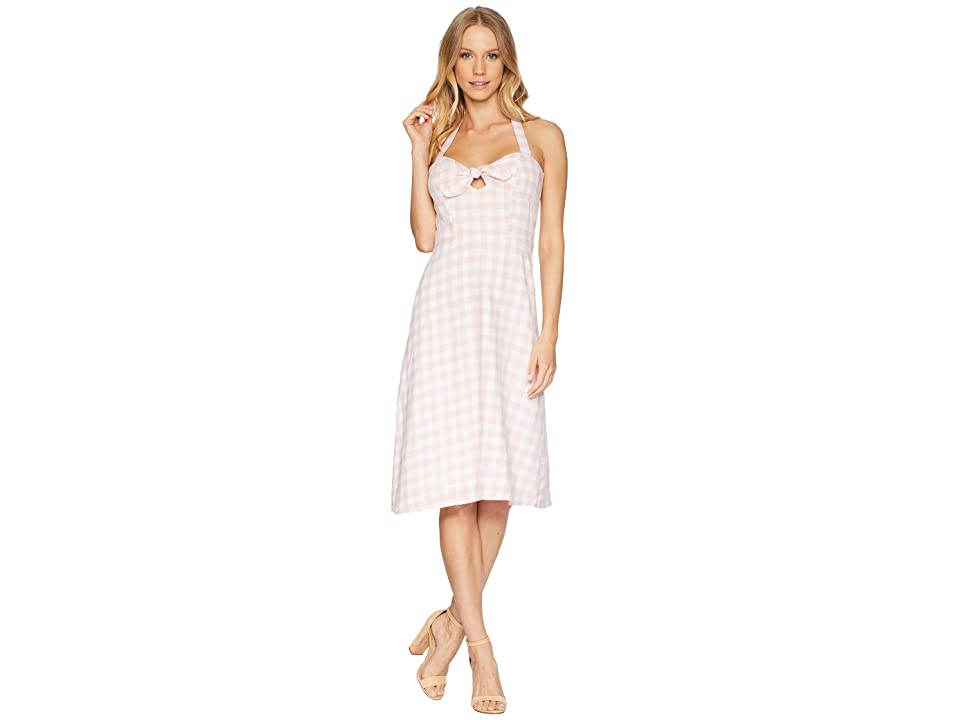 BB Dakota Annelise Gingham Halter Dress (Pink Blossom) Women