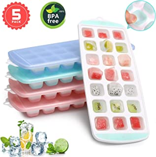 Ice Cube Trays, Ice Tray Food Grade Flexible Silicone Ice Cube Tray Molds with Lids, Easy Release Ice Trays Make 105-Ice Cube, Stackable Dishwasher Safe, Non-toxic, BPA Free (2019 Newest/5 Packs)