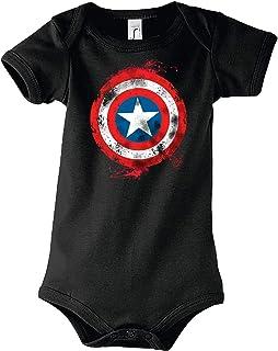 TRVPPY Baby Jungen Mädchen Kurzarm Body Strampler America Captain Brushed