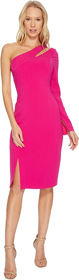 Laundry by Shelli Segal - One Sleeve Fitted Crepe Dress with Cut Outs