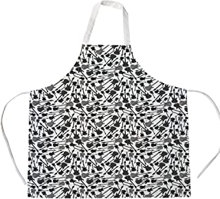 Cotton Linen Apron,Two Side Pocket,Music,Grunge Style Hand Drawn Style Electric Guitars Sketch Rock Pop Vibes Print,Black Grey White,for Cooking Baking Gardening