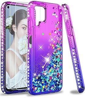 LeYi för Huawei P40 Lite skal och 2 härdat glas skärmskydd, flicka klar glitter glittrande kvicksand söt silikon TPU stöts...