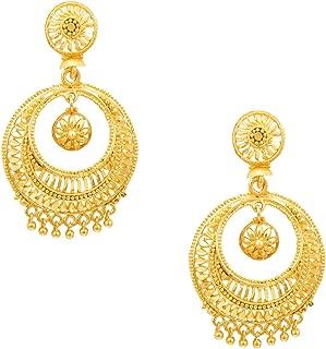 Traditional ndian Gold 18K Chandbali Earrings (SJ_758)