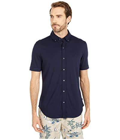 Nautica Button Front Jersey Polo (Blue) Men